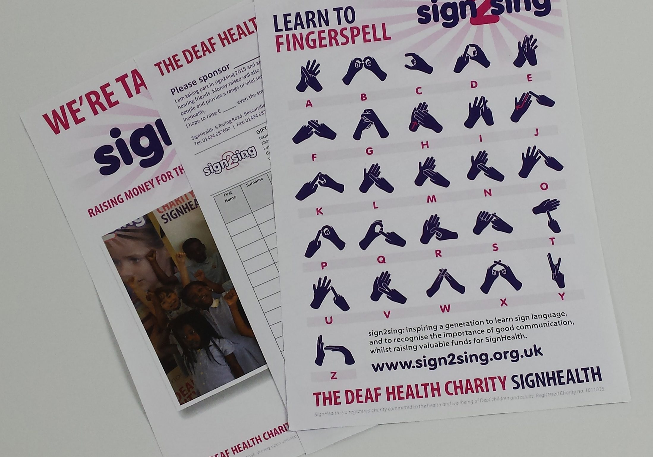 Sign2Sing sponsor, signing and fundraising resources.
